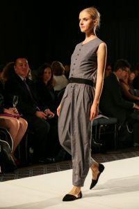Slate jumpsuit with tucked hem by Daniela Pantazi