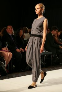 Slate jumpsuit with tucked hem by Daniela Pantazi